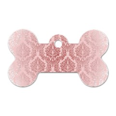 Luxury Pink Damask Dog Tag Bone (Two Sided)