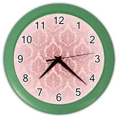 Luxury Pink Damask Wall Clock (color)
