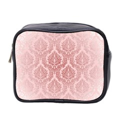 Luxury Pink Damask Mini Travel Toiletry Bag (two Sides)