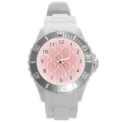 Luxury Pink Damask Plastic Sport Watch (large)