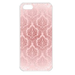 Luxury Pink Damask Apple Iphone 5 Seamless Case (white)