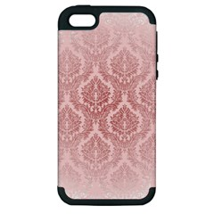 Luxury Pink Damask Apple Iphone 5 Hardshell Case (pc+silicone)