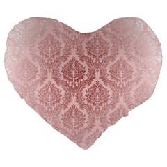 Luxury Pink Damask 19  Premium Heart Shape Cushion