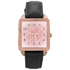 Luxury Pink Damask Rose Gold Leather Watch