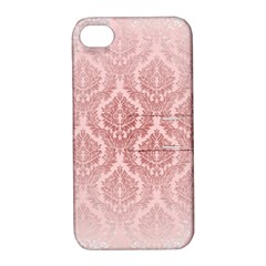 Luxury Pink Damask Apple Iphone 4/4s Hardshell Case With Stand