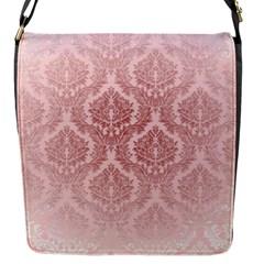 Luxury Pink Damask Flap Closure Messenger Bag (small)