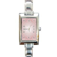 Pink Damask Rectangular Italian Charm Watch