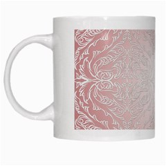 Pink Damask White Coffee Mug