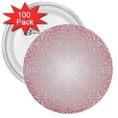 Pink Damask 3  Button (100 Pack)