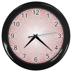 Pink Damask Wall Clock (black)