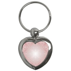 Pink Damask Key Chain (Heart)