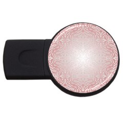 Pink Damask 1GB USB Flash Drive (Round)