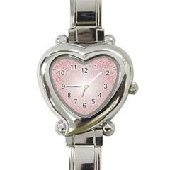 Pink Damask Heart Italian Charm Watch