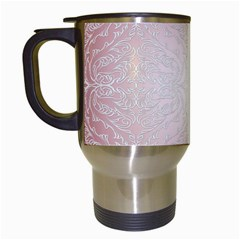 Pink Damask Travel Mug (White)