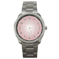 Pink Damask Sport Metal Watch