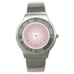 Pink Damask Stainless Steel Watch (Unisex)
