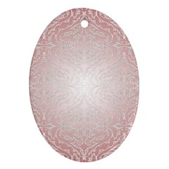 Pink Damask Oval Ornament (Two Sides)