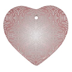 Pink Damask Heart Ornament (Two Sides)