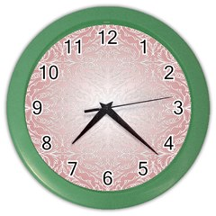 Pink Damask Wall Clock (Color)