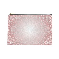 Pink Damask Cosmetic Bag (Large)