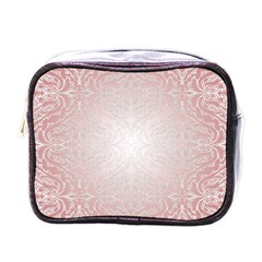 Pink Damask Mini Travel Toiletry Bag (One Side)