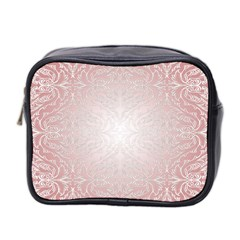 Pink Damask Mini Travel Toiletry Bag (Two Sides)