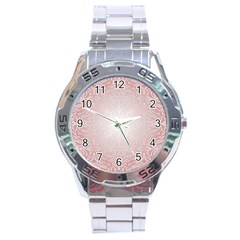 Pink Damask Stainless Steel Watch (men s)