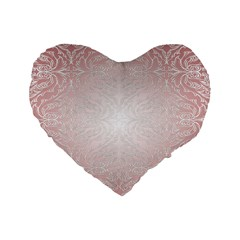 Pink Damask 16  Premium Heart Shape Cushion