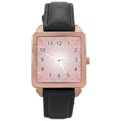 Pink Damask Rose Gold Leather Watch
