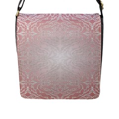 Pink Damask Flap Closure Messenger Bag (Large)