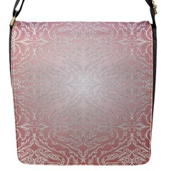 Pink Damask Flap Closure Messenger Bag (small)