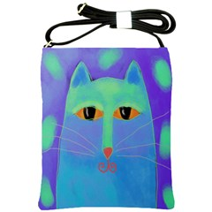 Blue Cat Shoulder Sling Handbag