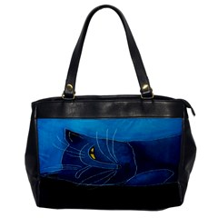 Blue Cat Sleeping Leather Like Handbag