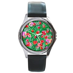Flower Dreams Round Metal Watch (Silver Rim)
