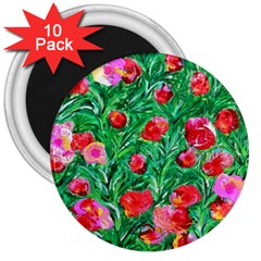 Flower Dreams 3  Button Magnet (10 pack)