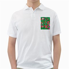 Flower Dreams Mens  Polo Shirt (white)
