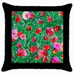Flower Dreams Black Throw Pillow Case