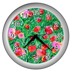 Flower Dreams Wall Clock (Silver)