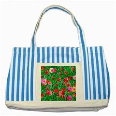 Flower Dreams Blue Striped Tote Bag