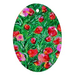 Flower Dreams Oval Ornament (Two Sides)