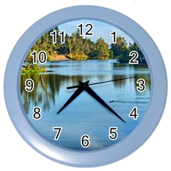 Early morning on the lake Wall Clock (Color)