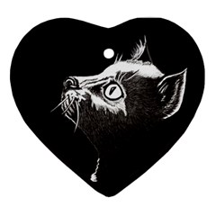 Shadow Cat Heart Ornament