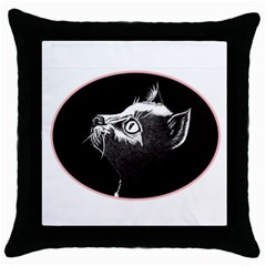 Shadow Cat Black Throw Pillow Case