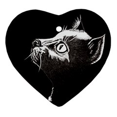 Shadow Cat Heart Ornament (Two Sides)