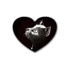 Shadow Cat Drink Coasters 4 Pack (Heart)