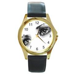 Eyes  Round Metal Watch (Gold Rim)