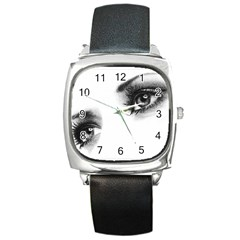 Eyes  Square Leather Watch