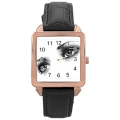 Eyes  Rose Gold Leather Watch