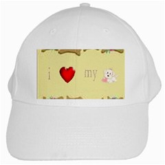 I Love My Dog! II White Baseball Cap