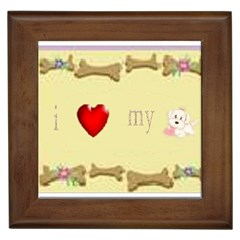 I Love My Dog! II Framed Ceramic Tile